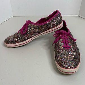 Keds x Kate Spade Pink Multi Color Glitter Sneaker